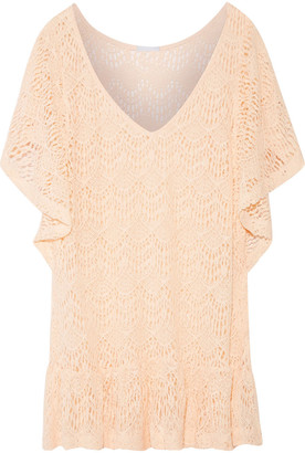 Eberjey Free Spirit Malena Ruffled Crochet-knit Cotton-blend Coverup