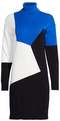 Joan Vass Petite Colorblock Sweater Dress