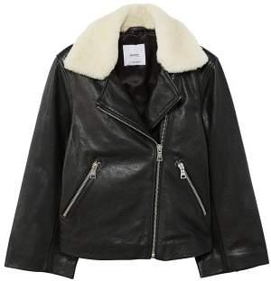 MANGO Mixed leather biker jacket