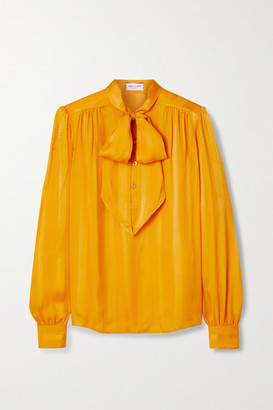 Saint Laurent Pussy-bow Silk-jacquard Blouse - Saffron