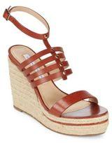 Diane von Furstenberg Gabby Strappy Leather Espadrille Wedge Sandals