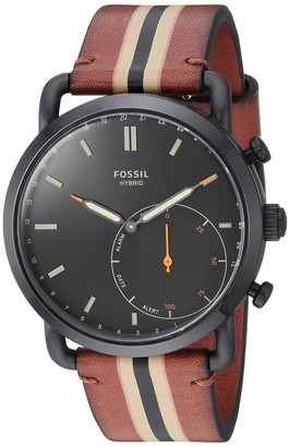 Fossil Men's Stainless Steel Hybrid Watch with Leather Strap