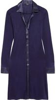 La Perla Morgane Silk Satin-trimmed Stretch-jersey Nightshirt - Indigo