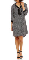 Jones New York Dot Print Lace-Up V-Neck Shirtdress