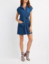Charlotte Russe Chambray Button-Up Shift Dress