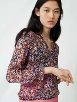 Maje Floral-print silk dress