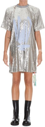 Off-White Sequined Tee Dress