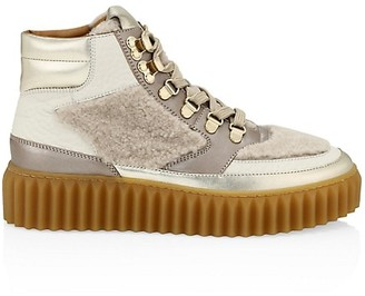 Voile Blanche Eva Shearling & Metallic Leather Hiking Boots
