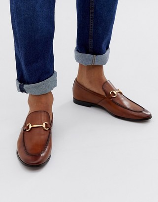 Office lemming bar loafers in tan leather