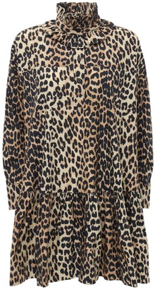 Ganni Leopard Print Cotton Poplin Mini Dress