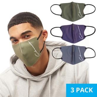 Closure London Mens Three Pack Face Masks Navy/Charcoal/Khaki