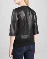 Neiman Marcus Leather Half-Sleeve Bolero Jacket