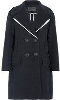 Cédric Charlier Double-breasted Wool-blend Coat - Navy