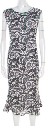 Escada Monochrome Lace Printed Silk Sleeveless Flounce Midi Dress XL