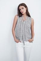 Annaline Tie Neck Sleeveless Top In Bisque