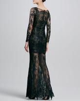 Notte by Marchesa Long-Sleeve Lace Mini-Illusion Gown