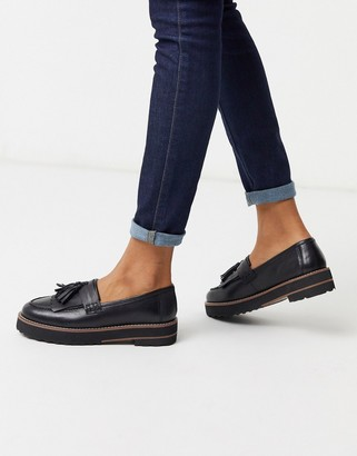 ASOS DESIGN Meze chunky fringed leather loafers in black