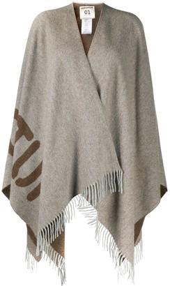 Semi-Couture Oversized-Logo Fringed Shawl