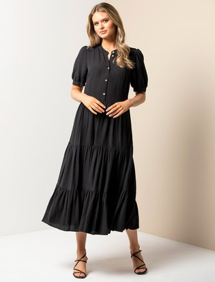 Forever New Camilla Tiered Shirt Dress - Black - 4