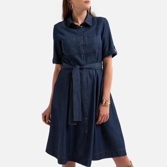 Anne Weyburn Draping Denim Shirt Dress