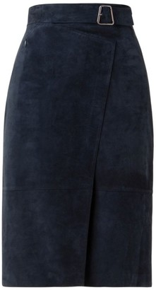 Akris Belted Suede Wrap-Effect Pencil Skirt