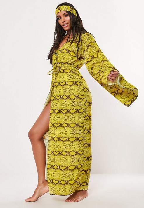 Missguided Yellow Animal Print Head Tie & Kimono Set