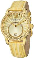 Stuhrling Original Women's 544.1135A15 Vogue Audrey Dawn Swiss Quartz Swarovski Crystal Date Leather Strap Watch