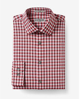 Express fitted check non-iron dress shirt