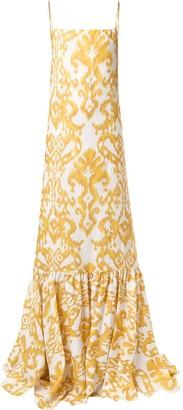 Andres Otalora Valencia Ikat-print linen dress