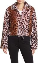 KENDALL + KYLIE Leopard Print Cropped Faux Fur Jacket
