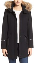 Trina Turk 'Riley' Wool Blend Coat with Genuine Fur Trim Hood