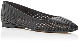 Jimmy Choo Women's Modell Perforated Square Toe Ballet Flats