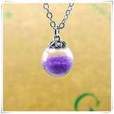 Flowers Glass Ball Necklace, Glass Globe, Round Bottle Jewelry, Circular Glass Orb, Silver Chain, Glass Jewelry。violet