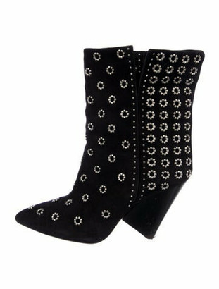Isabel Marant Suede Studded Accents Boots Black
