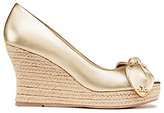 Tory Burch Dory Metallic Peep-Toe Espadrilles Wedges