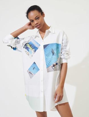 Maje Printed oversized cotton shirt