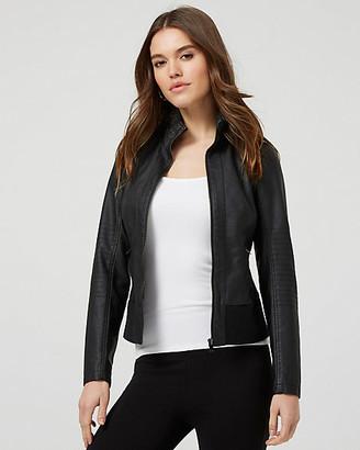 Le Château Faux Leather Zip-Front Moto Jacket