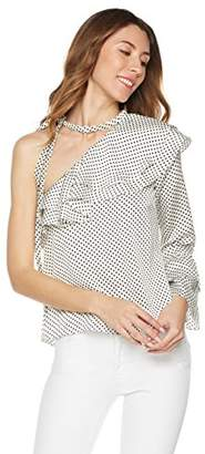Plumberry Women's One Shoulder Ruffle Blouse With Tie