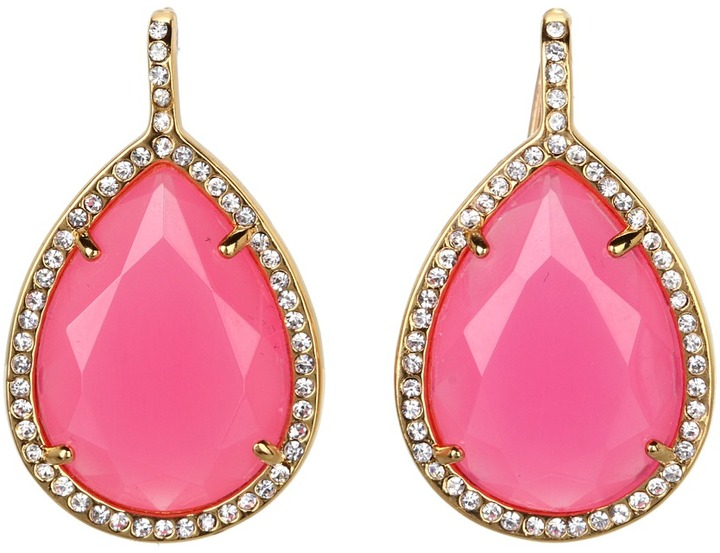 Juicy Couture Pave Teardrop Drop Earrings (Raspberry) - Jewelry