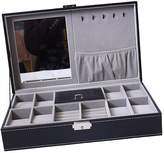 Homyl PU Leather 8 Slot Watch Grids Necklace Earring Trinkets Box Jewelry Display
