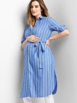 Maternity stripe long sleeve shirtdress