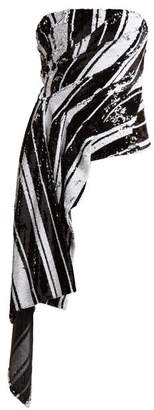 Halpern Striped Sequin Asymmetric Bustier Top - Womens - Black White