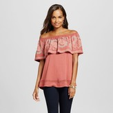 Knox Rose Women's Shirred Off the Shoulder Embroidered Blouse