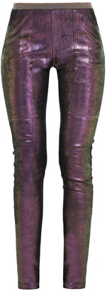 Rick Owens Holographic Coated-leather Leggings