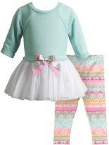 Youngland Baby Girl Tulle Sweaterdress & Fairisle Leggings Set