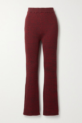 ANNA QUAN Liza Ribbed Cotton Flared Pants - Burgundy