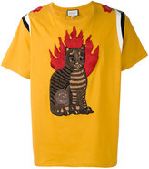 Gucci flame tabby cat motif t-shirt - men - Cotton - XS