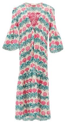 Adriana Degreas Floral-print Silk-crepe Robe - Pink Print