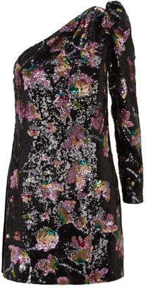 Self-Portrait One-Shoulder Floral Print Sequin Dress