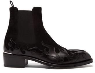 Alexander McQueen Flame Panel Suede Chelsea Boots - Mens - Black